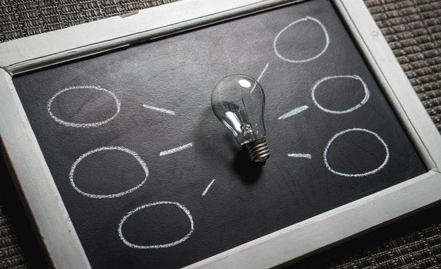 Žiarovka, prenosná tabuľa, symbol nápadov, biznis